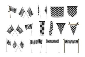 Realistic racing flags set collection vector