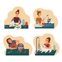 Grooming pet set, groomers wash groomed dogs and cats, vector collection of illustrations in flat style