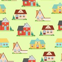 Seamless pattern with houses, sweet home, vector illustration in flat style