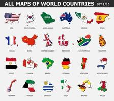 All maps of world countries and flags . Set 1 of 10 . Collection of outline shape of international country map with shadow . Flat design . Vector .