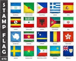 Stamp with official country flag pattern and old grunge texture and countries name . Square shape . Vector . Set 3 of 12 on this series . All national flags of the world  .
