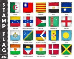 Stamp with official country flag pattern and old grunge texture and countries name . Square shape . Vector . Set 4 of 12 on this series . All national flags of the world  .