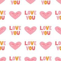 Pink heart with a smile and hand-written I love you on a white background. Vector seamless pattern