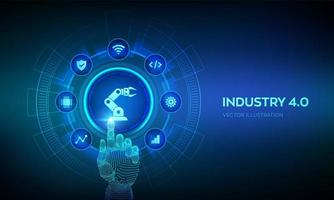 Smart Industry 4.0 concept. Factory automation. Autonomous industrial technology. Industrial revolutions steps. Robotic hand touching digital interface. vector