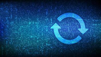 Actualiza el software. Actualizar el concepto de versión del programa informático. iconos de sincronización realizados con código binario. datos binarios digitales y transmisión de código digital. Fondo de matriz con dígitos 1.0. vector