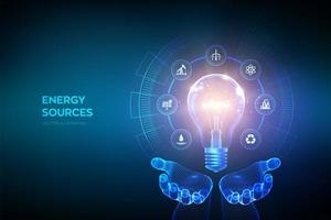 Glowing light bulb with energy resources icons in hands. Electricity and energy saving concept. Energy sources. Campaigning for ecological friendly and sustainable environment. vector