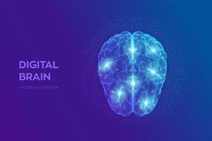 Brain. Digital brain with binary code. 3D Science and Technology concept. Neural network. IQ testing, artificial intelligence virtual emulation science technology. vector