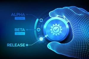 concepto de ingeniería de pruebas de software. pruebas de lanzamiento alfa beta. Mano de estructura metálica girando una perilla de proceso de prueba y seleccionando el modo de liberación de producto. fases de desarrollo de software o aplicaciones. vector