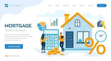 Mortgage concept. House loan or money investment to real estate. Property money investment contract. Buying Home. Man and woman calculates home mortgage rate. vector