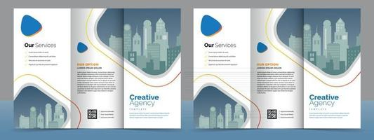 Business Brochure Template in Tri Fold Layout. Corporate Design Leaflet with replicable image. vector
