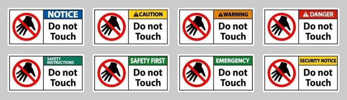 Do not touch and please do not touch sign vector
