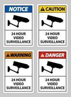 CCTV 24 Hour Video Surveillance Sign vector