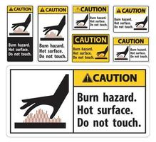 Caution Burn hazard,Hot surface,Do not touch Symbol Sign Isolate on White Background,Vector Illustration vector
