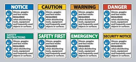 Gloves, Goggles, And Face Masks Required Sign On White Background,Vector Illustration EPS.10 vector