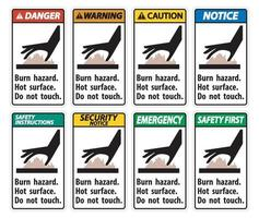 Burn hazard,Hot surface,Do not touch Symbol Sign Isolate on White Background,Vector Illustration vector
