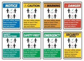 mantenga una distancia de 6 pies, para su seguridad, mantenga una distancia de al menos 6 pies entre usted y los demás. vector