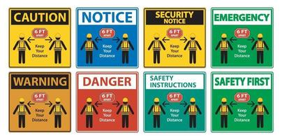 Social Distancing Construction Sign Isolate On White Background,Vector Illustration EPS.10 vector