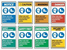 Wear Eye And Foot Protection Beyond This Point With PPE Symbols vector