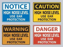High Noise Level Use Ear Protection on White Background vector