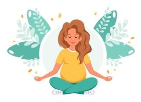 Pregnant woman meditating in lotus pose. Healthy pregnancy concept. vector
