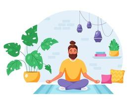 Man meditating in lotus pose in cozy modern interior. Healthy lifestyle, home activity. vector