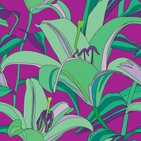 Floral pattern. Flower lily seamless background. Flourish ornamental garden vector