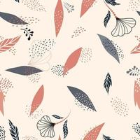 Floral dotted seamless pattern with leaves and flowers. Fall nature ornamental hand-drawn texture. Flourish garden abstract backdrop with chaotic dots vector