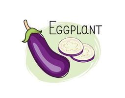 Eggplant icon. Half, slice and full aubergine isolated on white background with lettering Eggplant. Vegetable stylish drawn symbol eggplant vector