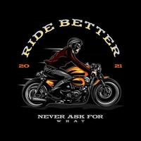 retro biker illustration on solid color vector