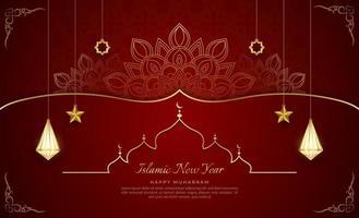 Islamic new year elegant red and golden luxury ornamental background, happy Muharram, realistic lantern, vector illustration.