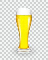 Naturalistic glass with fresh light cold beer in tall fouling. Vector Illustratiom