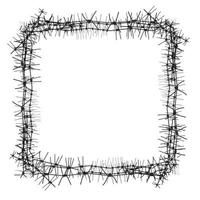 Silhouette of severe obstacle. Barbed wire fencing in the form of frame. Vector Illustration.