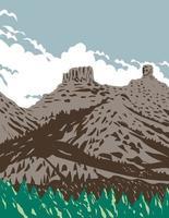 chimney rock y companion rock dentro del monumento nacional de chimney rock parte del bosque nacional de san juan en colorado estados unidos wpa poster art vector