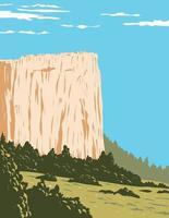 Inscription Rock a Sandstone Bluff in El Morro National Monument in Cibola County New Mexico  United States WPA Poster Art vector