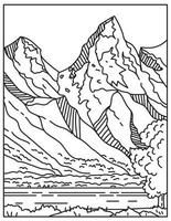 Jackson Hole or Jackson's Hole with the Teton Range in the Background Located in Wyoming United States Mono Line or Monoline Black and White Line Art vector