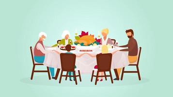 Thanksgiving day flat vector illustration. Fall holiday celebration. Eating festive meal together. Celebrating harvest with grandparents. Happy family dinner with turkey cartoon characters