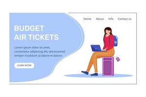 Budget air tickets landing page vector template. Best travel deals website with flat illustrations. Cheap international flights homepage layout. Budget tourism banner, webpage cartoon concept