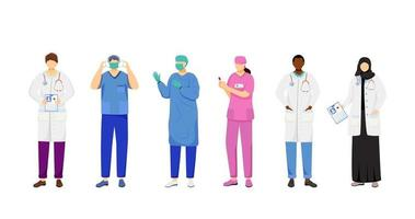 Doctors flat vector illustrations set. Multicultural therapists, general practitioners. Surgeon, nurse cartoon characters. Female arabic medic, african american physician isolated on white background
