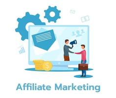 Affiliate marketing flat vector illustration. Product, service promotion. Income from sale generation. Performance-based business model. Isolated cartoon character on white background