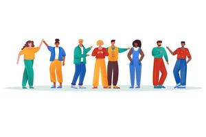Multinational group flat vector illustration. Multicultural couples and friendship. Men and women together. Social diversity. Multiracial people isolated cartoon characters on white background