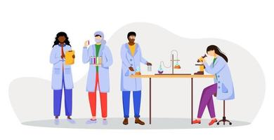 Scientists in lab coats flat vector illustration. Studying medicine, chemistry. Conducting experiment. Chemists with test tubes, microscope isolated cartoon characters on white background