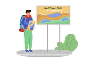 Free entrance to national park flat vector illustration. Hiking activity, walking tour. Cheap travelling choice. Tourist with map. Budget tourism isolated cartoon character on white background