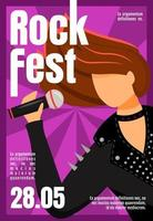Rock fest brochure template. Female vocalist. Concert, event. Flyer, booklet, leaflet concept with flat illustration. Vector page cartoon layout for magazine. Advertising invitation with text space