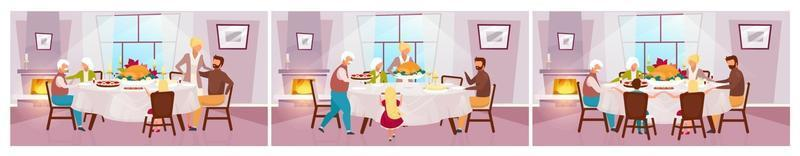 Thanksgiving day flat vector illustration set. Annual autumn holiday in United States. Grateful meal. Celebrating harvest together with grandparents. Family dinner with turkey cartoon characters