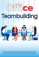 Office team building brochure template. Coworking courses flyer, booklet, leaflet concept with flat illustrations. Vector page cartoon layout for magazine. Business seminar advertising with text space