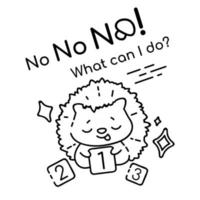 Helpless hedgehog with number cards cartoon linear vector character. Cute animal with No what can i do lettering. Kids coloring book illustration and funny phrase. Childish printable card template