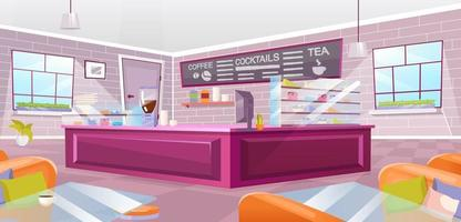 Cafe interior flat vector illustration. Empty cafeteria with pink counter, glass tables and cozy armchairs. Modern urban coffee shop furnishing. Cartoon spacious pub with vintage brick wall
