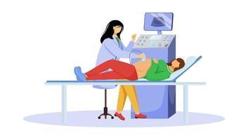 chequeo de detección de ultrasonido de la ilustración de vector plano de feto. atención médica durante el embarazo. mujer embarazada, con, médico, ginecólogo, en, clínica, aislado, caricatura, caracteres, blanco, plano de fondo