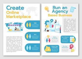 crear plantilla de folleto de mercado en línea. ejecutar negocios basados en agencias. folleto, concepto de folleto, ilustraciones planas. diseño de dibujos animados de página de vector para revista. invitación publicitaria con espacio de texto