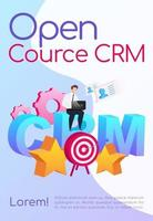 Open source CRM poster flat vector template. Company customization. Brochure, booklet one page concept design with cartoon characters. Arrow in target. Smiling man sitting on word flyer, leaflet